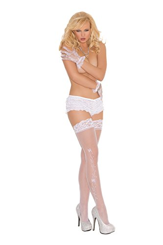 - Zabeanco Wedding Bells Sheer Thigh High with Lace Top