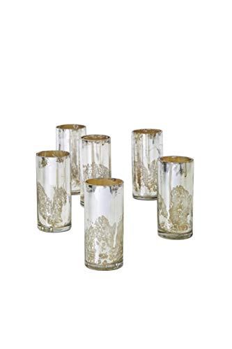 """Serene Spaces Living Antique Silver Cylinder Vase, Handmade Mercury Glass Finish, Measures 4"""" Tall and 2"""" Diameter, Set of 6"""