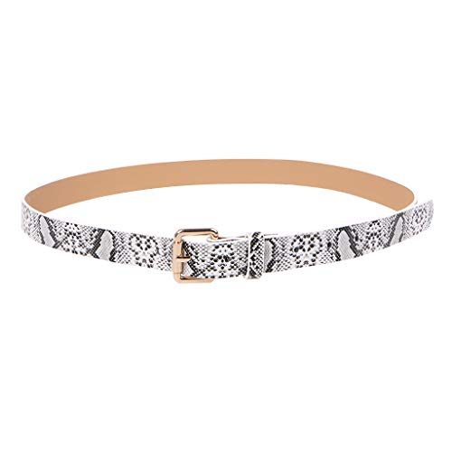 Simdoc Women's PU Leather Belt Snakeskin Printed Retro Waist Belt With Alloy Buckle For Shirt Jeans Dress