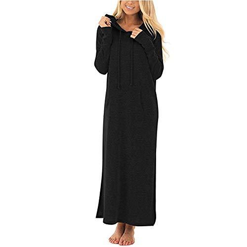 Ourhomer  Clearance Sale Womens Casual Pockets Dresses Ladies Long Sleeve Split Hooded Solid Long Maxi Dress (L, Black) - Corduroy Denim Skirt