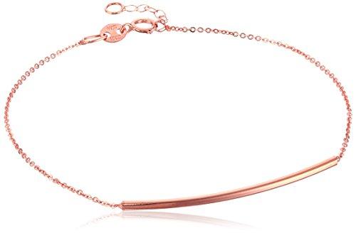 14k Bracelet Rose Link Gold - 14k Italian Rose Gold Sliding Curved Bar Adjustable Link Bracelet, 7