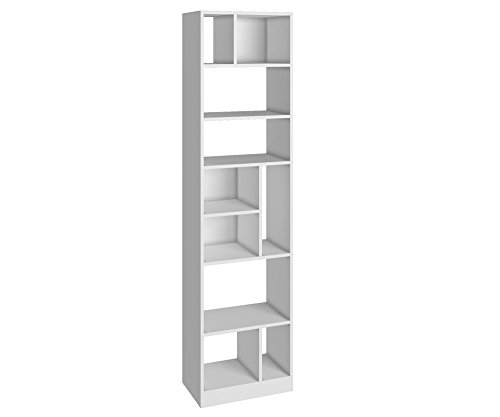 Modern Bookcase Bedroom - Manhattan Comfort Valenca 4.0 Collection Modern Tall Free Standing Decorative 10 Open Shelf Style Bookcase, White