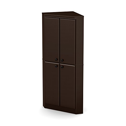 South Shore Morgan 4-Door Corner Armoire, Chocolate