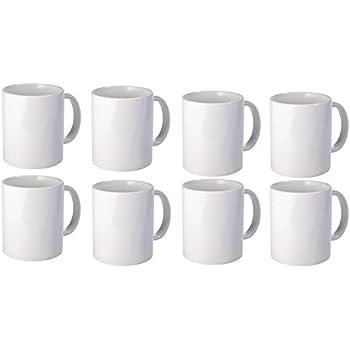 Set of 8 glossy white mug 16oz dishwasher for Is ready set decor legit
