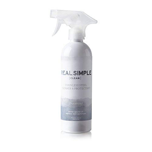 Real Simple Clean Stainless Steel Cleaner & Protectant, Trigger Spray Included, Tackles Greasy Smudges and Persistent Fingerprints, Food Grade Mineral Oil Based, Made in USA, 16 oz