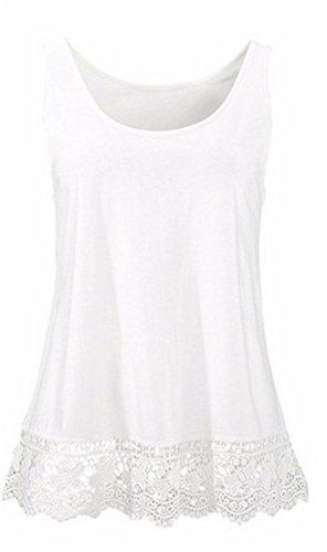 Fanessy Mujer Camiseta Tirantes Blusa sin Mangas Encaje Elegante Deportiva Oficina Casual Chaleco de Verano Está fabricada en Poliéster y es Suave al Tacto blanco