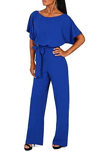 (QUEENIE VISCONTI Women Summer Wide Leg Jumpsuit - Casual Long Pants Rompers Vacation Dressy Playsuit Blue)