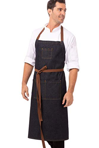 Chef Works Unisex Memphis Chefs Bib Apron, Indigo Blue, One Size 1