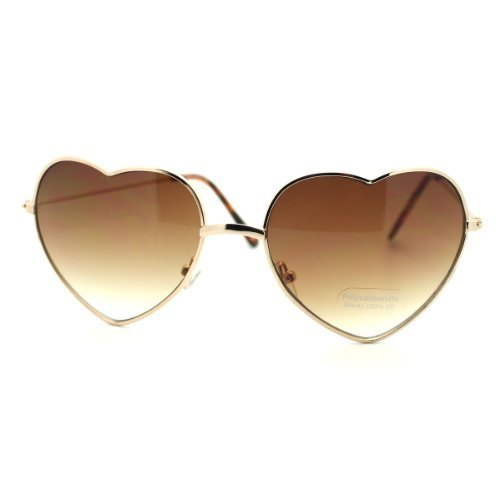 [Thin Metal Frame Heart Shape Sunglasses Gold/Silver] (Thin Frame Sunglasses)