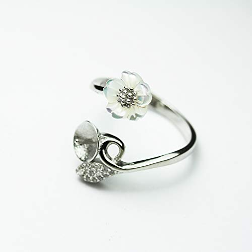 1pc Adjustable 925 Sterling Silver w/Cubic Zirconia w/Shell Flower Jewellery findings Ring Setting,for Half drilled Beads - FDSSO0120