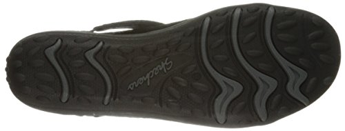 Skechers Women's Earth Fest Sostenibilit� Mary Jane Flat, Black Suede / Carbonio Trim