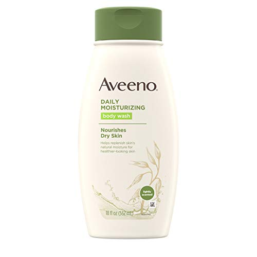 (Aveeno Daily Moisturizing Body Wash with Soothing Oat, Creamy Shower Gel, Soap-Free and Dye-Free, Light Fragrance, 18 fl. oz)