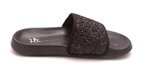 Lust For Life Womens Shimmer Open Toe Casual Slide Sandals Black DfabeZTBVx