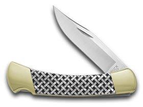 (BUCK 110 Folding Hunter Basketweave 1/400 Custom White Pearl Corelon Knives)