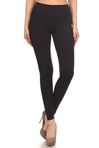 2ND DATE Women's Basic Cotton Stretch Leggings Comfort Waistband-Black-Medium