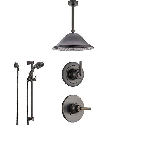 Delta Trinsic Venetian Bronze Shower System with Normal Shower Handle, 3-setting Diverter, Large Ceiling Mount Rain Showerhead, and Handheld Shower SS145982RB