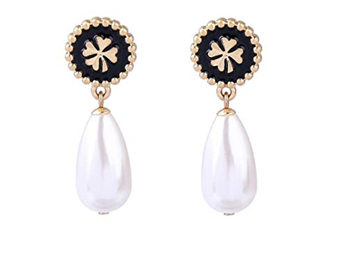 - NORTHSTAR PEARLS AND JEWELRY: Dangle Drop Simulated Pearl Clover Earrings. Beautiful Light Weight and Elegant Vintage Gold-Tone.