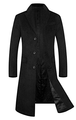 Men's Trench Coat Wool Blend French Long Jacket Business Top Coat Single Breasted 1801 Black ()