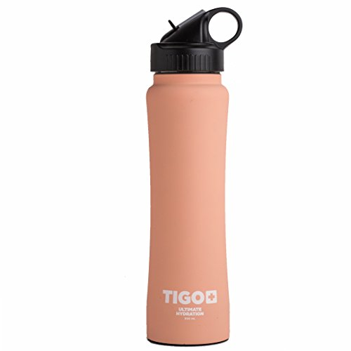 Tigo+ Stainless Steel Doble Wall Insulated Sport Water Bottle 17 Ounces Bpa Free Working Out Bottle with Straw Coconut Peach by TIGO+