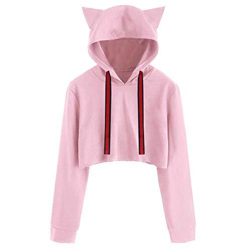 Camicetta Shirt Cat Tumblr Felpa T Pullover Cappuccio Donna Sweater e Donna Cat Manica con Lunga Cappuccio a Rosa con AEwaIXEqx