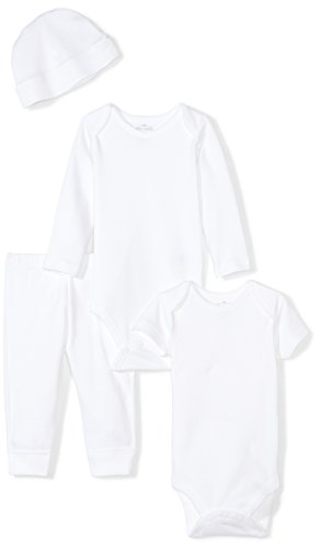 Moon and Back Baby Infant 4 Piece Organic Playtime Gift Set, White Cloud, 0-3 Months