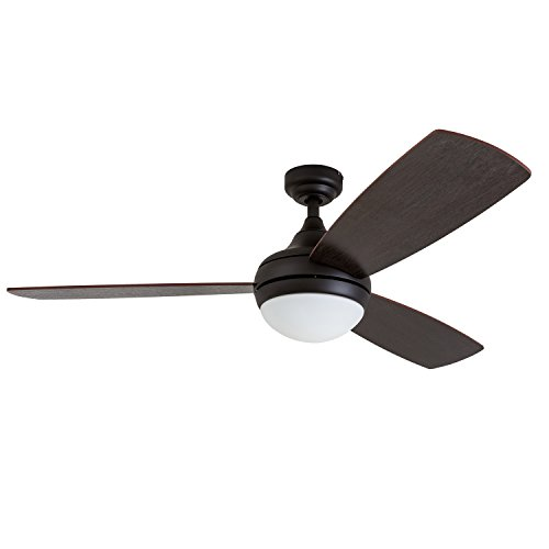 Prominence Home 80036-01 Calico Modern/Contemporary LED Ceiling Fan with Remote Control, 52 inches, Energy Efficient, Cased White Integrated Light Kit, Bronze by Prominence Home