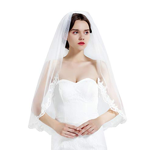 Wedding Bridal Veil with Comb 1 Tier Lace Applique Edge Fingertip Length 36
