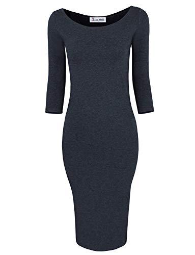 TAM WARE Womens Classic Slim Fit Bodycon Dress TWFR049-D059-CHARCOAL-US M