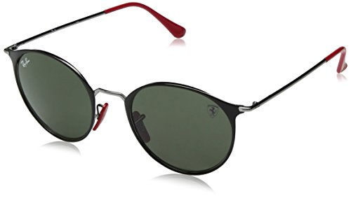 Ray-Ban RB3602M Scuderia Ferrari Collection Round Sunglasses, Black on Gunmetal/Green, 51 ()
