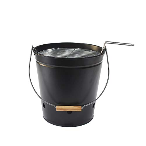 4W Portable Barbecue Bucket Grill, Small Outdoor BBQ Grill Charcoal for Camping Travel Picnics and More (Black)