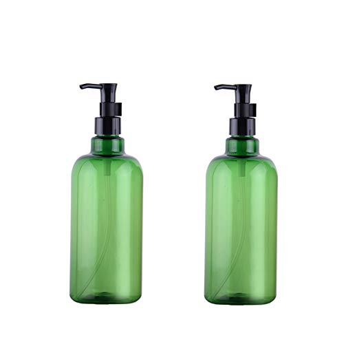 2PCS 500ml/17 OZ Empty Refillable Green Plastic Shampoo Bottle Cosmetics Jar Pot Case Holder With Black Pump Head And Locking System For Cleanser Makeup Essential Oil Lotion Liquid Bottles(Green)