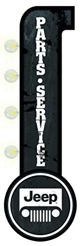 - Jeep Parts Service Garage - Reproduction Vintage Advertising Sign - Battery Powered LED Lights, Double Sided Metal Wall Mounted - 25 x 9 x 4 inches