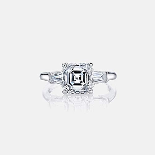 (AINUOSHI Rhodium Plated 925 Sterling Silver Cubic Zirconia 3 Carats Asscher Cut CZ Baguette 3-Stone Engagement Ring for Women (6))