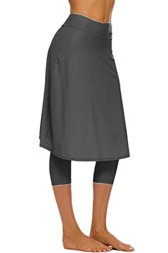 Micosuza Long Swim Skirt with Attached Leggings Modest Sun Protection Sports Skirt for Women Grey