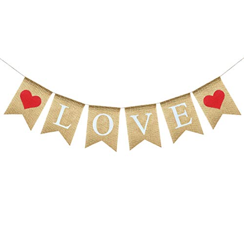 (Uniwish Love Banner Burlap Valentine's Day Engagement Party Decorations, Rustic Heart Hanging Bunting Anniversary Wedding Photo Booth Props)