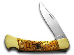 Brass Blade Antique Custom (Buck 110 Custom Gold Corelon Black Widow Folding Hunter Pocket Knives)