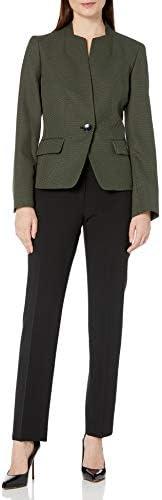 Le Suit Women's 1 Button Birdseye Jacquard Slim Pant Suit