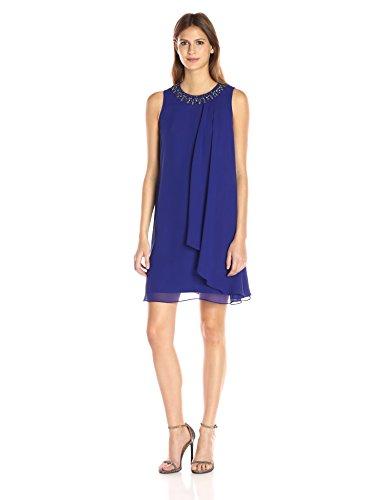 Dress Pleated Vince (Vince Camuto Women's Sleeveless Single Side Pleated Dress, Royal, 8)