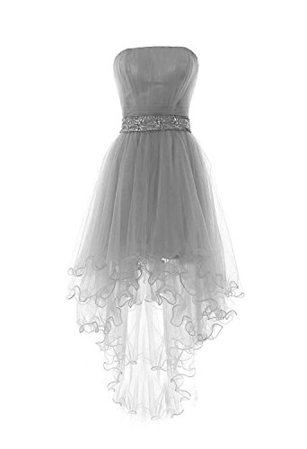 (Fanciest Women's Strapless Beaded High Low Prom Dresses Short Homecoming Gowns Grey)