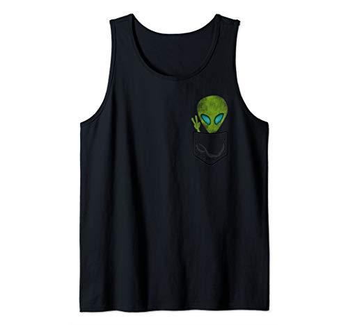 1bc8927e6be508 Alien Pocket Cool Funny T Shirt Cute Peace UFO Gift Tank Top