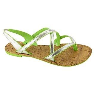 Bongo Women's Surfside Flat Sandal, Silver/Lime, Size 7 (Womens Bongo Sandals)