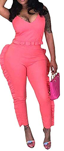 Sexy 2-Piece Sports top + for Women's spaghetii Sling Seven Points + Pleated mesh Long Pants Set(Peach-X-Large) -