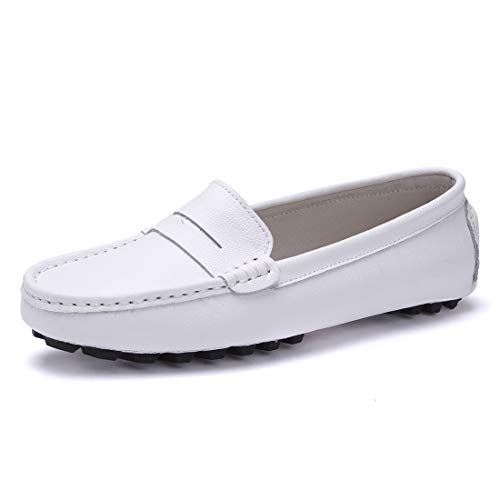 SUNROLAN 818-2bai10.5 Casual Women's Genuine Leather Penny Loafers Driving Moccasins Slip-On Boat Flats Shoes US10.5 White (Driving Shoes Moccasin)