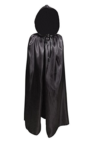 Children Kids Hood Cloak Costume Full Length Cape for Halloween Christmas Coaplay School Dress Up (100cm / 39.4inch, Black)
