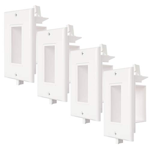 4 Pack Recessed Wall Plate with Fly Mounting Wings Side Opening Decora Style Single Gang Low Voltage Cable Wall Plate Cable Pass Through WI1010-4