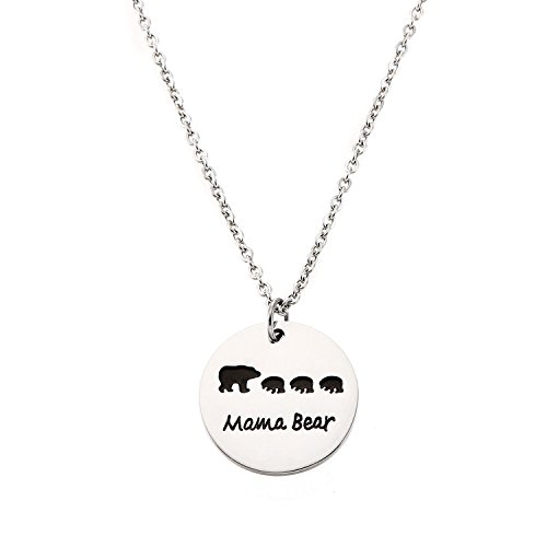Pendant Mama 1 (Yolanda Sweet Family Mama Bear Necklace Stainless Steel Bear Cubs Pendant Gift For Mother (Three Bear Cubs))