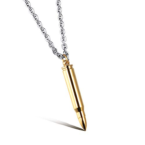 Men's Solid Color Bullet Necklace Cremation Urn Ash Bullet Pendant Necklace Stainless Steel Keepsake Memorial (Gold) (Pendant Steel Stainless Solid)