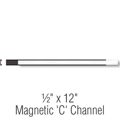 Magnetic ''C'' Channel Label Holders, 1/2''x12'',, Label Holder,Magnetic''C''Channel , 25 Holders / Pack