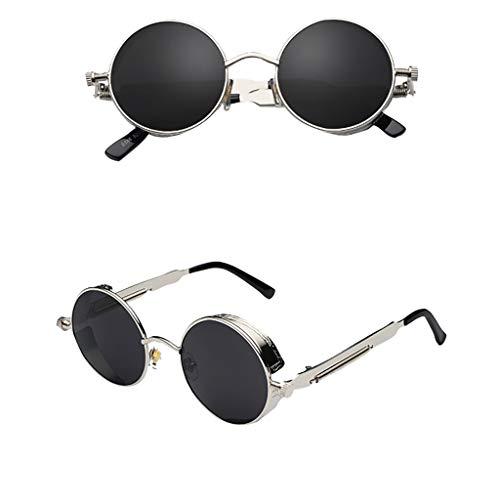 Louis Classic Sofa - Small Round Polarized Sunglasses Mirrored Lens Unisex Glasses Classic Steampunk Sunglasses for Men Women Aviator Polarized Lens Protection