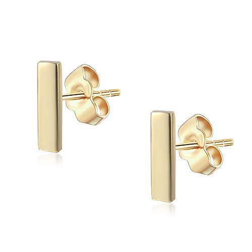 18K Gold Plated Sterling Silver Gold Bar Stud Earrings ()